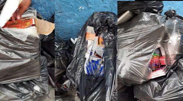 Material escolar que deveria ser entregue para alunos é achado no lixo em Nova Iguaçu