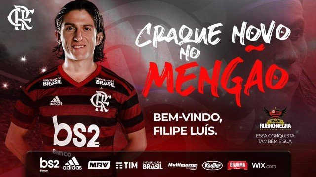 Filipe Luis é anunciado como reforço do Flamengo e diz: 'Sonho de criança'
