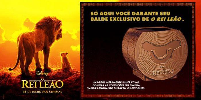 """Kinoplex oferece balde exclusivo de """"O Rei Leão"""" que dá desconto no combo de pipoca"""