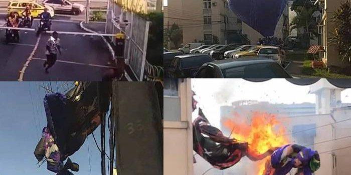 Imagens mostram correria e explosões após queda de balão em condomínio em Irajá