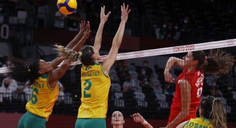 Meninas do vôlei batem Comitê Olímpico Russo e vão às semifinais